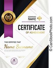 moderno, certificado, de, logro, plantilla