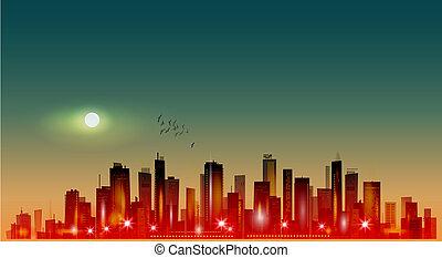 moderno, chiaro di luna, tramonto, notte, cityscape, o
