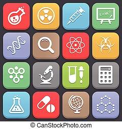 moderno, ciencia, iconos, para, tela, o, mobile., vector