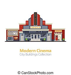 moderno, cine, exterior de edificio