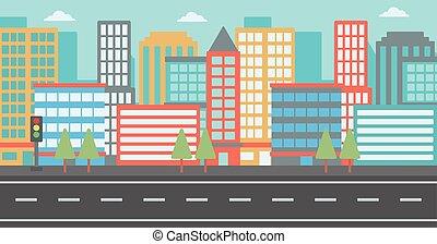 moderno, city., plano de fondo