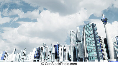 moderno, ciudad, fondo.