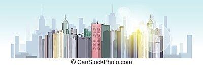 moderno, ciudad, megalópolis, vista, rascacielos, cityscape