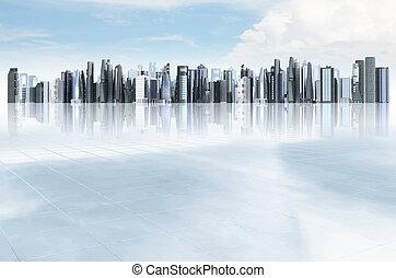 moderno, ciudad, plano de fondo