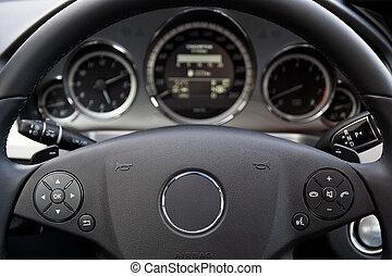moderno, coche, tablero de instrumentos