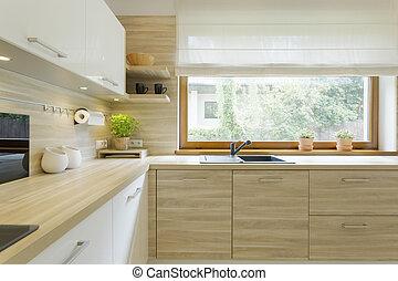 Madera moderno gabinetes cocina madera inoxidable for Gabinetes de cocina de madera modernos