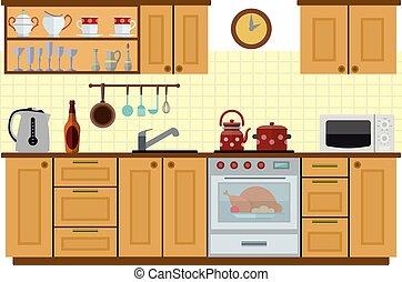 Cocina, muebles. Plano, estilo, illustration., furniture., vector ...