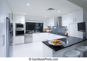moderno, cocina, en, lujo, mansión