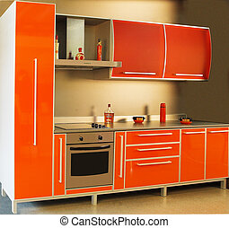 moderno, cocina, interior