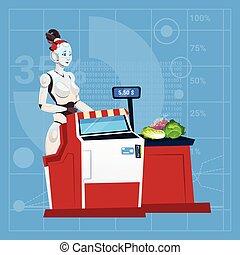 moderno, compras, inteligencia, trabajo, cajero, robot, supermercado, alameda, concepto, artificial, hembra, tecnología, futurista