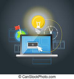 moderno, computador portatil, con, luz, bulb., inspiración,...