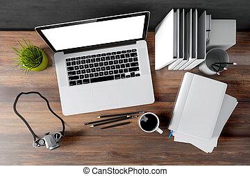 moderno, computadora, lugar de trabajo, 3d