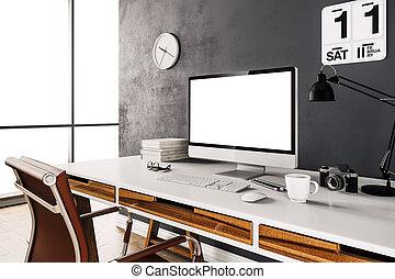 moderno, computer, workpl, render, 3d