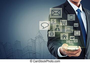 moderno, comunicación, tecnología, teléfono móvil