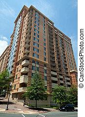 moderno, condo, edificio apartamento, torre, rascacielos,...
