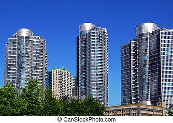 moderno, condominio, complejo