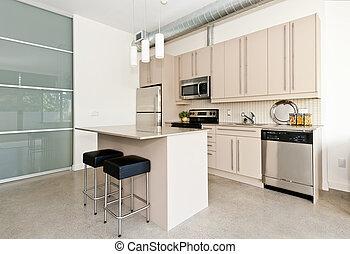 moderno, condominio, cucina