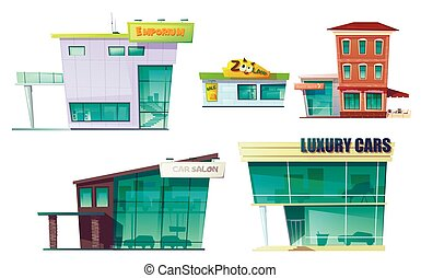 moderno, conjunto, edificio, retro, urbano, caricatura