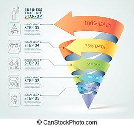 moderno, cono, 3d, escalera, diagrama, empresa / negocio