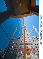 moderno, construcción, lugar