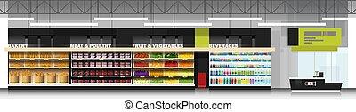 moderno, contatore, cassiere, scena, supermercato, prodotti, interno