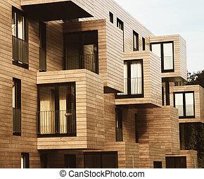 moderno contemporâneo, madeira, lados, predios