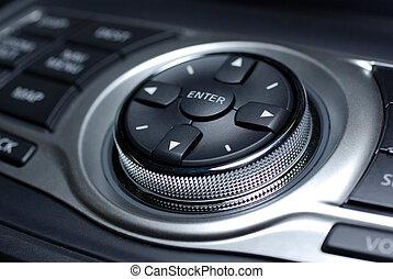 moderno, controllo, interface., interno, di, lusso, giapponese, automobile.