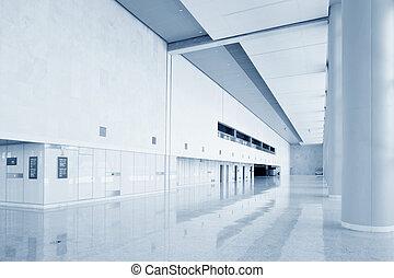 moderno, costruzione ufficio, salone, interno, di, urbano, città