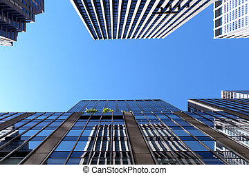 moderno, costruzioni ufficio, e, grattacielo, fondo