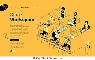 moderno, coworking, espacio, oficina