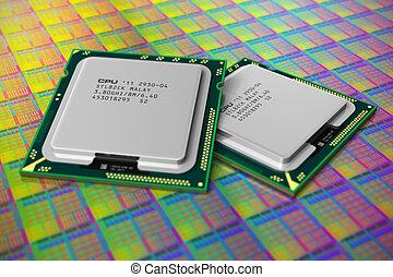 moderno, cpu, cialda silicone