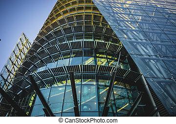 moderno, cristal, edificio, espacios de la oficina