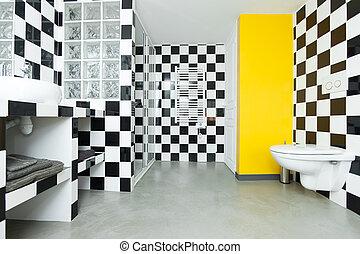 Azulejos piso moderno paredes negro blanco cocina for Azulejo a cuadros blanco y negro barato