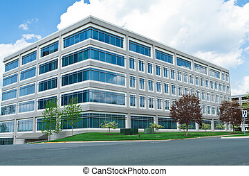 moderno, cubo, formado, edificio de oficinas, playa de...