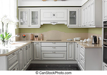 moderno, cucina, con, elegante, mobilia