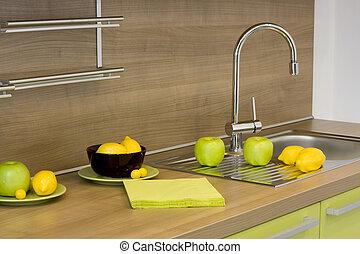moderno, cucina, dettaglio