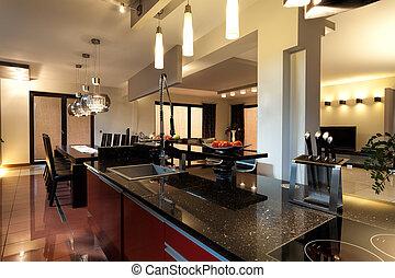 moderno, cucina, mobilia