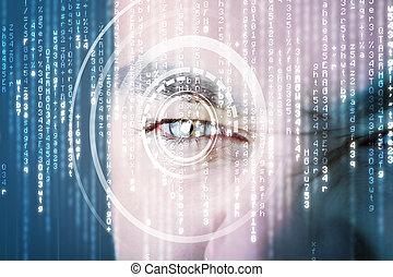 moderno, cyber, soldado, con, blanco, matriz, ojo