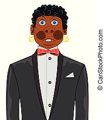 moderno, de piel oscura, plano de fondo, traje, blanco, hombre