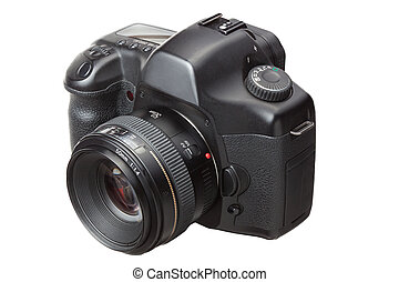 moderno, digitale, dslr, macchina fotografica, isolato,...