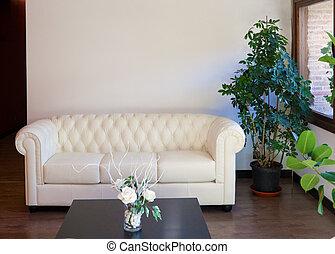 moderno, diseño de interiores, con, sofá