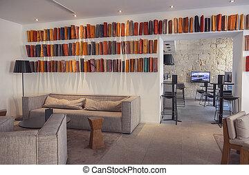 moderno, diseño, en, hotel, salón, habitación