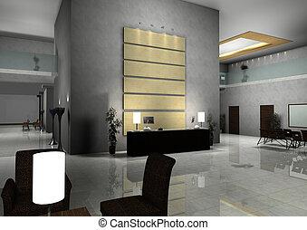 moderno, diseño, interior, de, vestíbulo