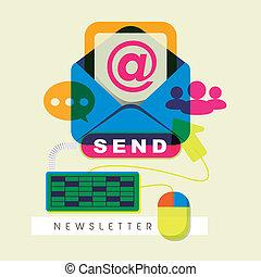 moderno, disegno, appartamento, concetto, newsletter