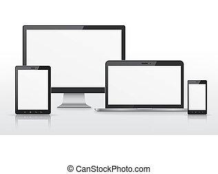 moderno, dispositivo, conjunto