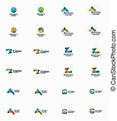moderno, ditta, logotipo, set