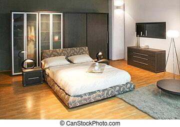 moderno, dormitorio, ángulo