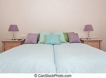 moderno, dormitorio, con, un, bed.