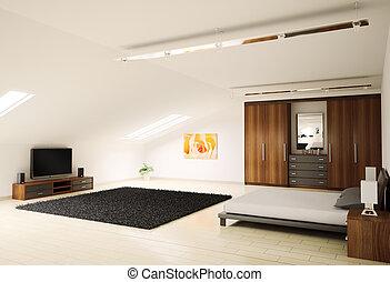 moderno, dormitorio, interior, 3d, render