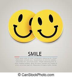 moderno, due, giallo, vettore, ridere, smiles.